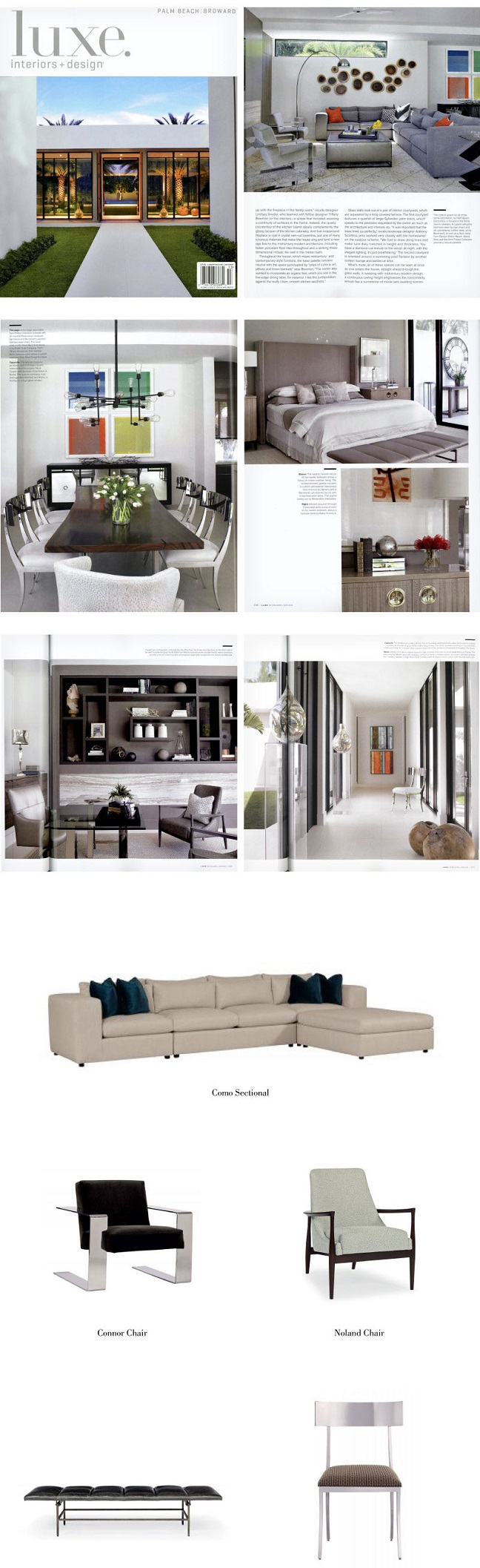 Bernhardt Como Sectional, Connor Chair, Noland Chair, Ardmore Bench, Gustav Chair in Luxe