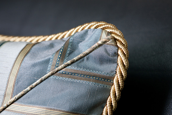 Custom Blue and Gold Chevron Pillow Detail from Sheffield Furniture